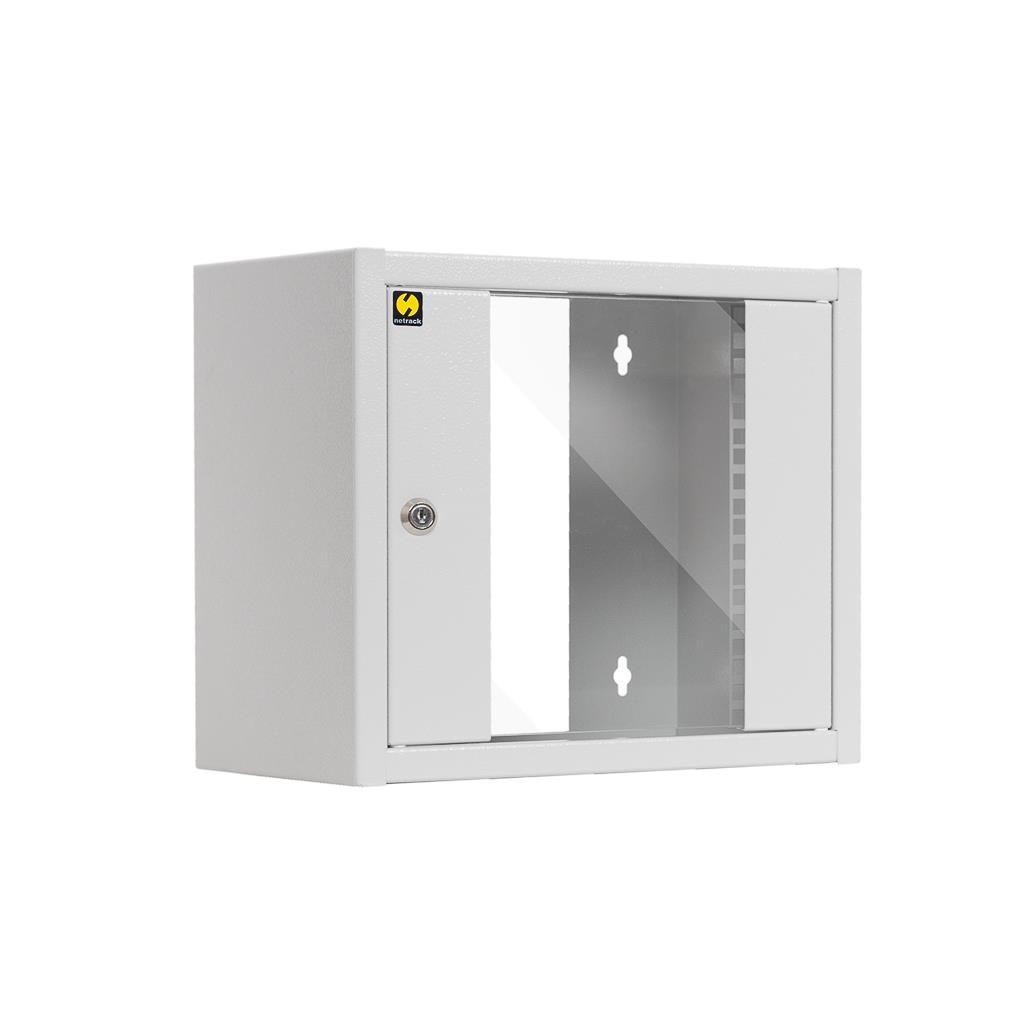 Netrack szafa wisząca 10'' (6U/300mm, popiel, drzwi przeszklone)