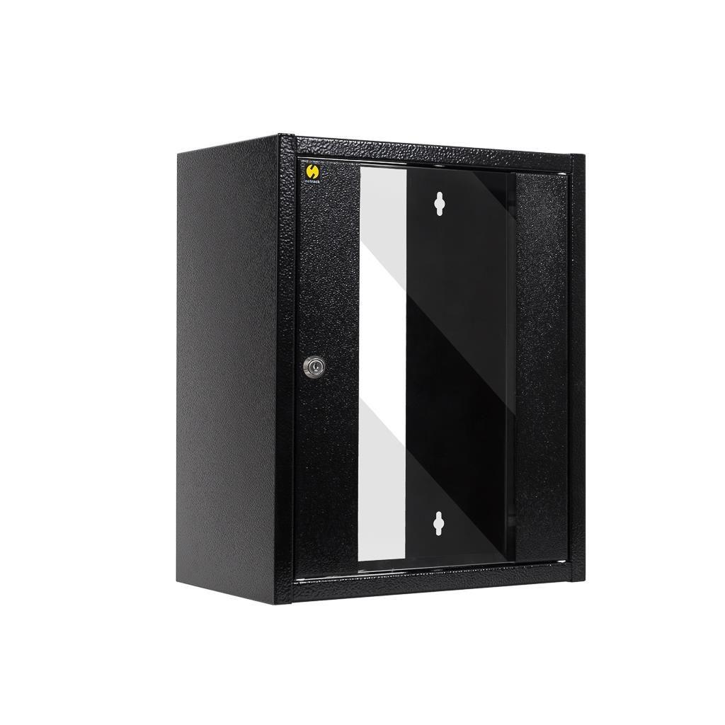 Netrack szafa wisząca 10'' (9U/300mm, grafit, drzwi przeszklone)