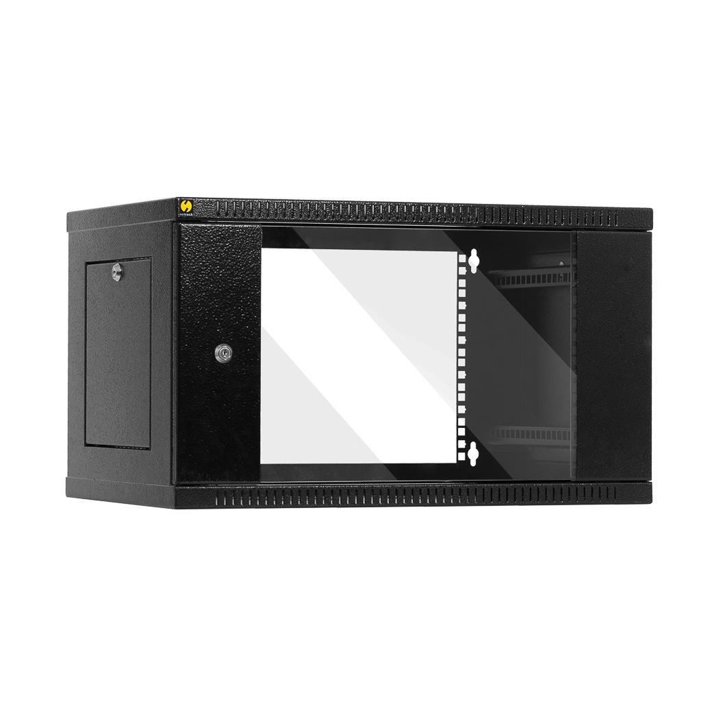 Netrack szafa wisząca 19'', 6U/400 mm - grafit, drzwi przeszklone, otwierane bok
