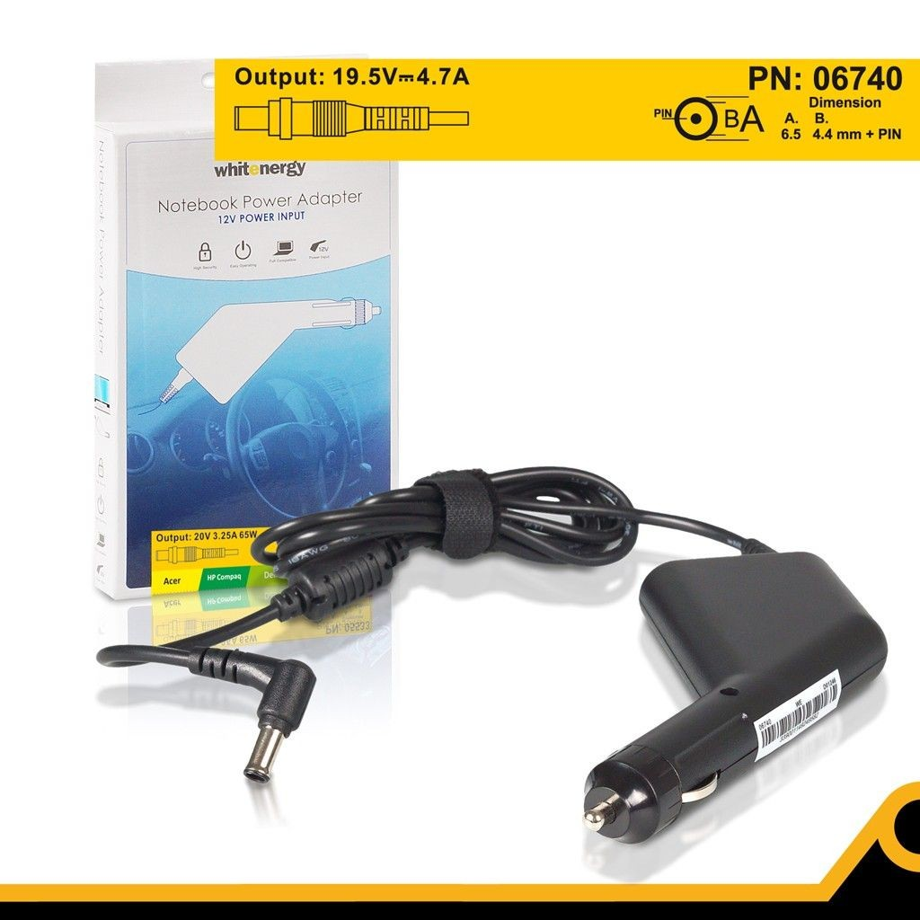 Whitenergy samochodowy zasilacz 19.5V/4.7A 90W (wtyczka 6.5x4.4mm + pin, Sony)