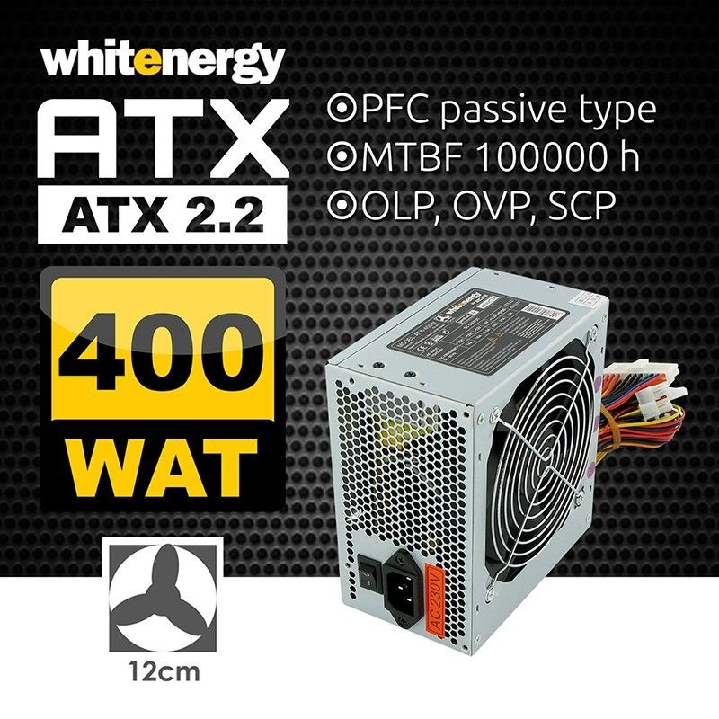 Whitenergy zasilacz komputerowy ATX 2.2 400W BOX (fan 120mm)