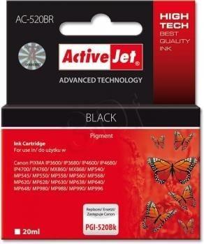 ActiveJet AC-520BR (ACR-520Bk) tusz czarny do drukarki Canon (zamiennik PGI-520Bk) (chip)