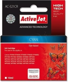 ActiveJet Tusz ActiveJet AC-521CR | Cyan | 10 ml | Canon CLI-521C