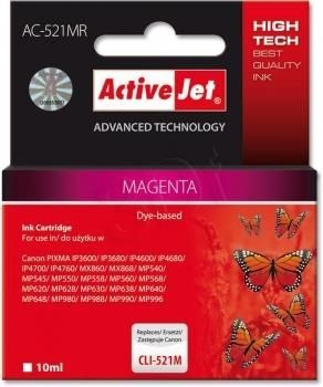 ActiveJet Tusz ActiveJet AC-521MR | Magenta | 10 ml | Canon CLI-521M