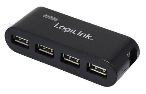 LogiLink UA0085 hub USB 2.0 4-portowy z zasilaczem (czarny)
