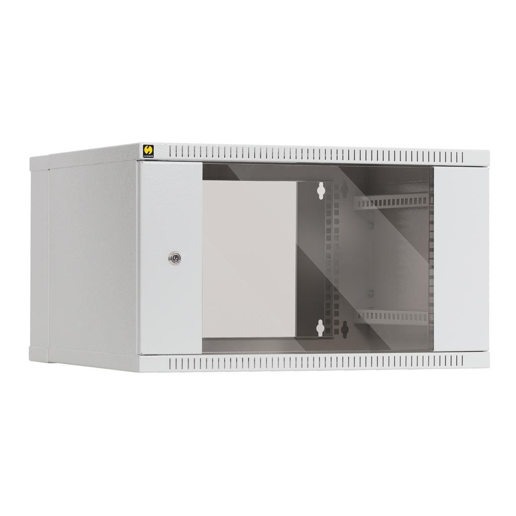 Netrack szafa wisząca dwusekcyjna 19'' 6U/550mm (popiel, drzwi przeszklone)