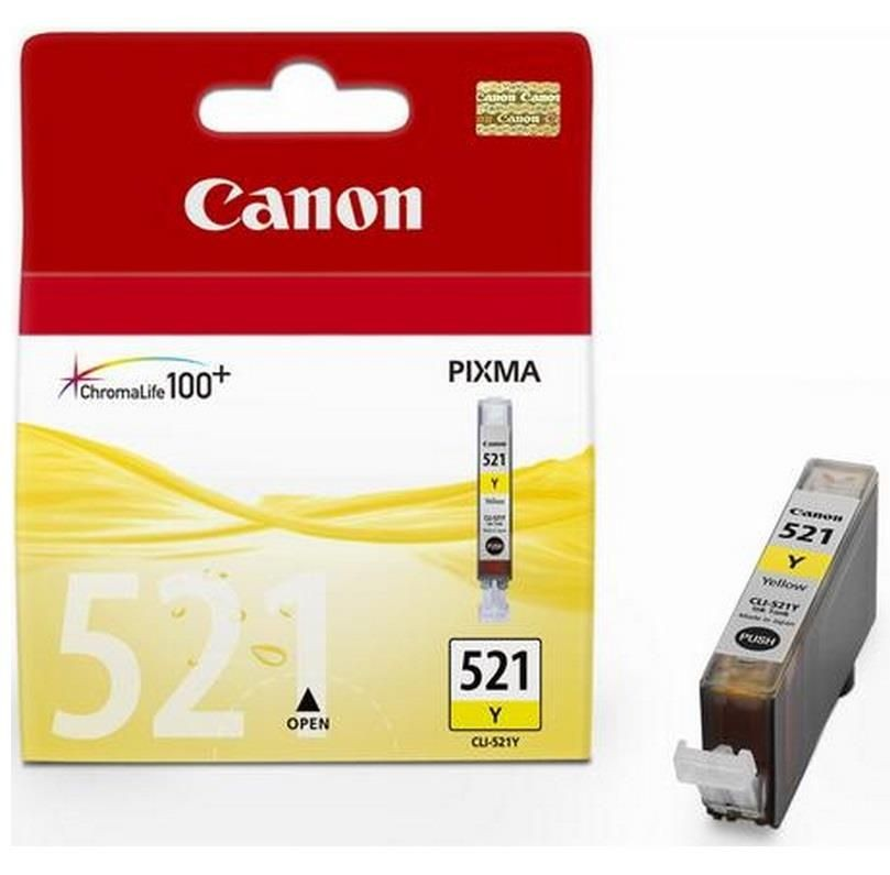 Canon tusz CLI521Y yellow BLISTER with security (iP3600/iP4600/MP540/MP620/MP630/MP980)