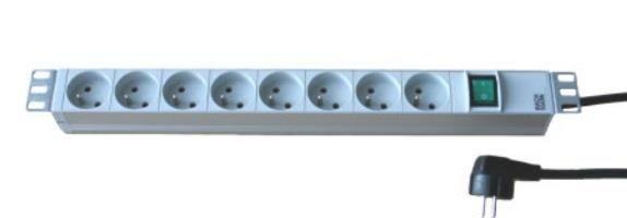 Fideltronik listwa zasilająca 8 gniazd rack 19'' (1U, wyłącznik, kabel 5m)