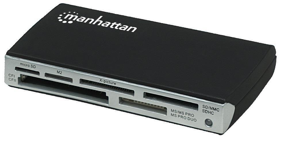 Manhattan Czytnik kart uniwersalny 60w1 USB 2.0 zewnętrzny czarny
