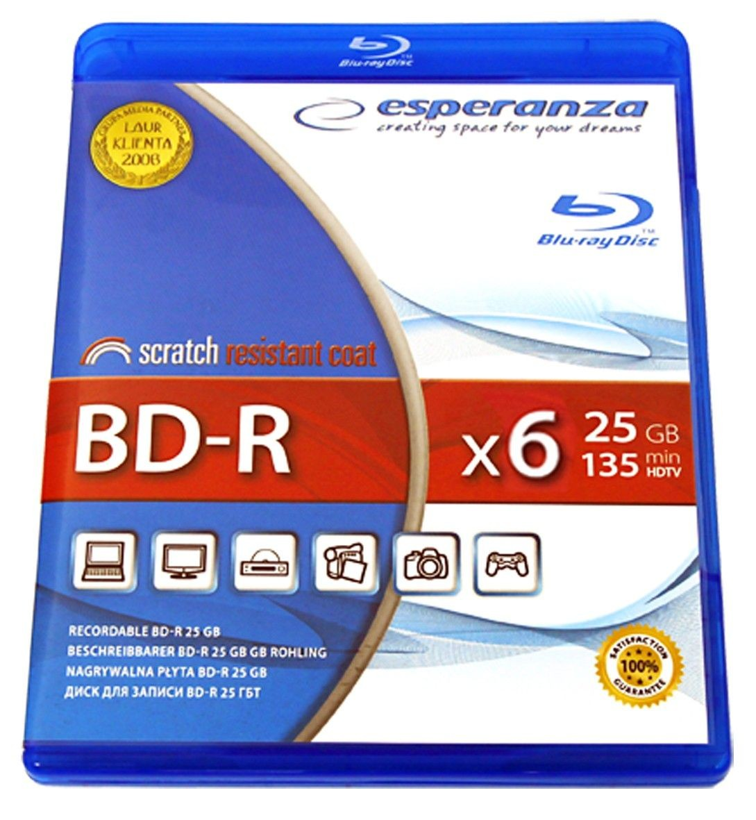 Esperanza BD-R 25GB x4 (BR case, 1szt)