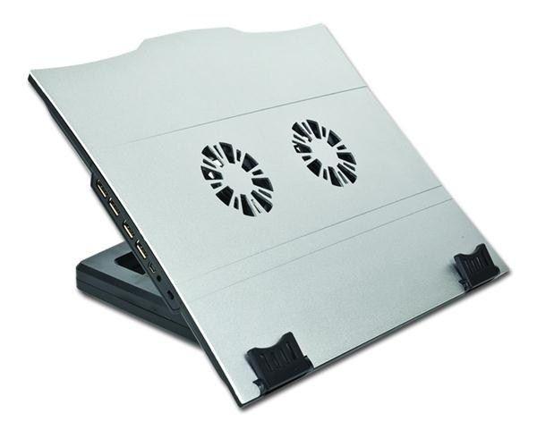 Gembird podstawka do notebooka (2 wentylatory, hub USB, regulacja nachylenia)