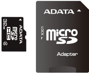 A-Data micro SecureDigital HC 32GB (Class 4) + SDHC adapter