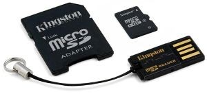 Kingston Karta pamięci Micro SDHC 32GB Class 4 + czytnik USB2.0 + SD Adapter