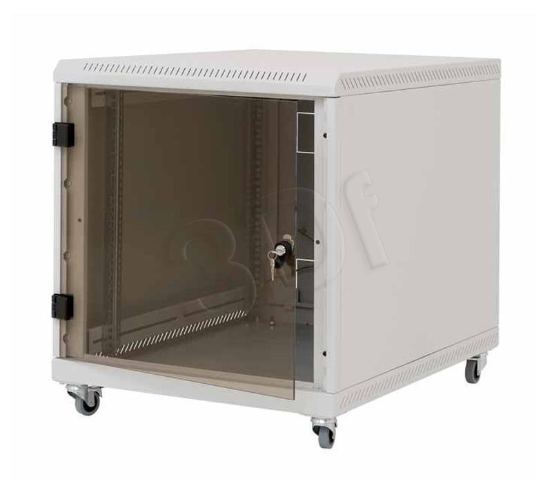 Triton Szafka rack 19 na kółkach RCA-12-A61-CAX-A1 (12U 600x1000mm przeszklone drzwi obciążalność 200kg kolor jasnoszary RAL7035)