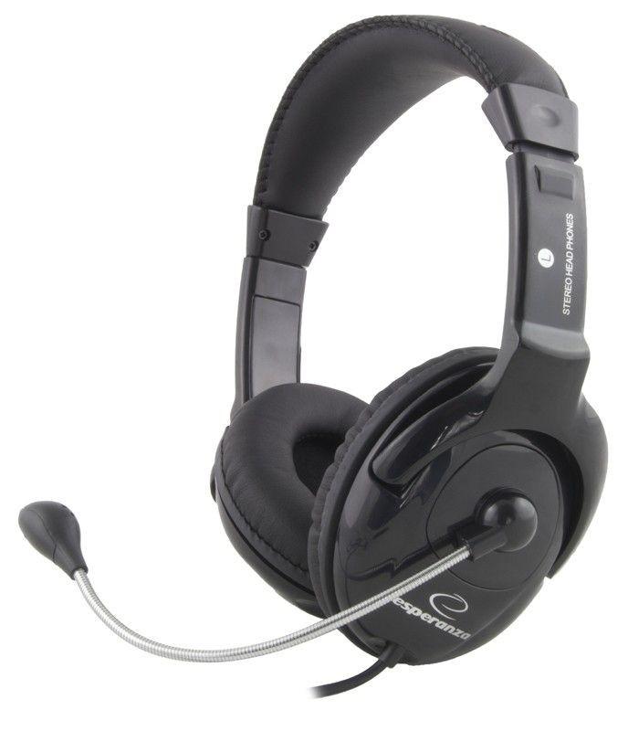 Esperanza Słuchawki Stereo z Mikrofonem i Regulacją Głośności EH101 MANUET