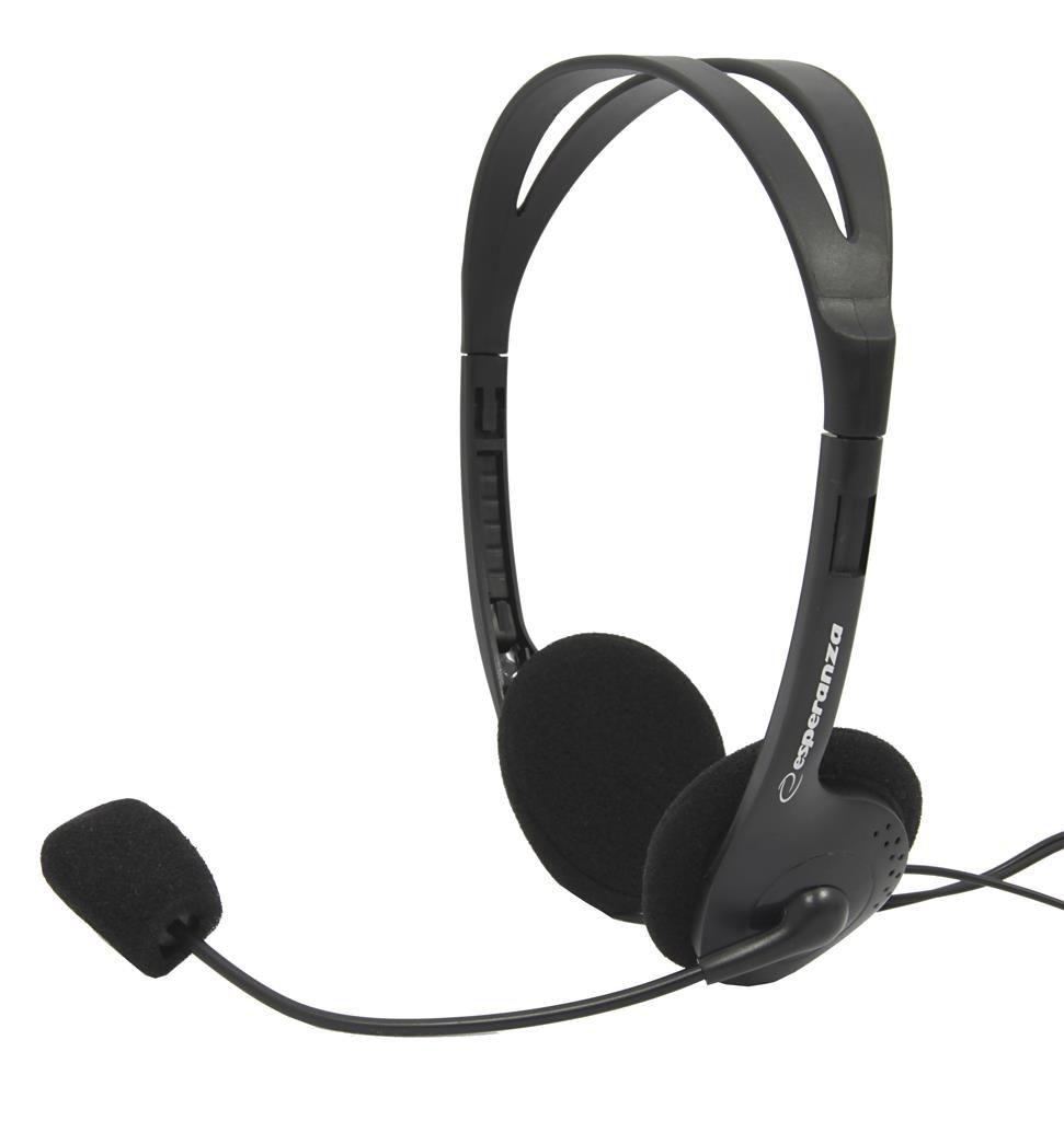 Esperanza Słuchawki Stereo z Mikrofonem i Regulacją Głośności EH102 SCHERZO|2,5m