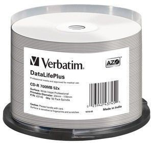 Verbatim CD-R [ spindle 50 | 700MB | 52x | white wide printable ]