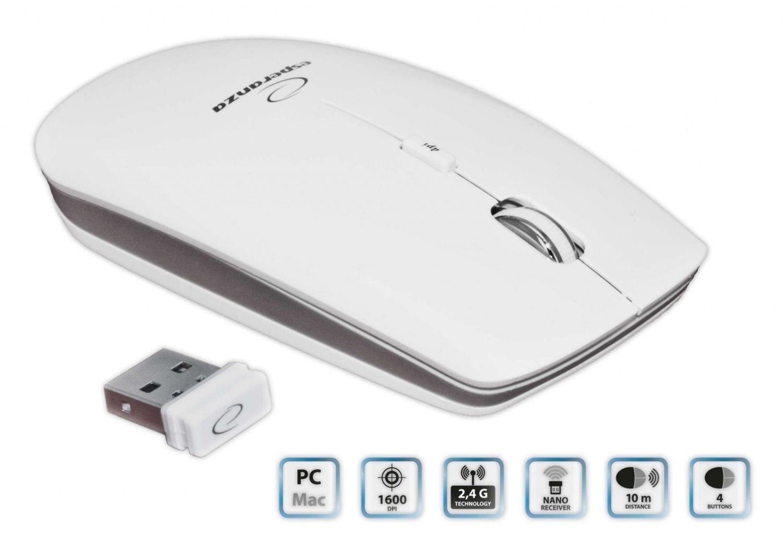 Esperanza Bezprzewodowa Mysz Optyczna EM120W PC/MAC| 2,4 GHz | 1600 DPI | Biała