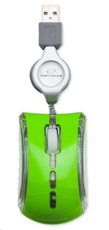 Esperanza Przewodowa Mysz Optyczna EM109G USB| 800 DPI |NEON|Zielona