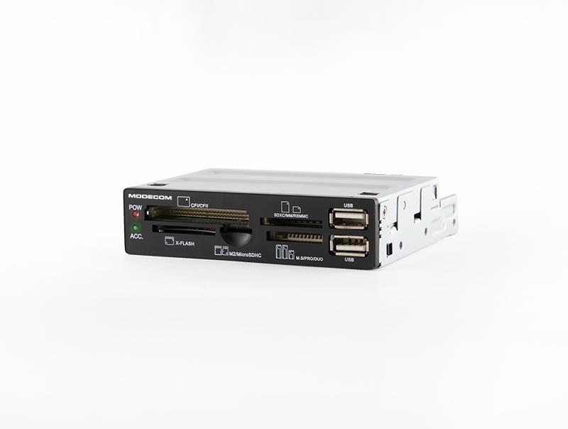ModeCom CR-108 czytnik kart pamięci flash wewnętrzny 3,5'' 2xUSB 2.0 czarny