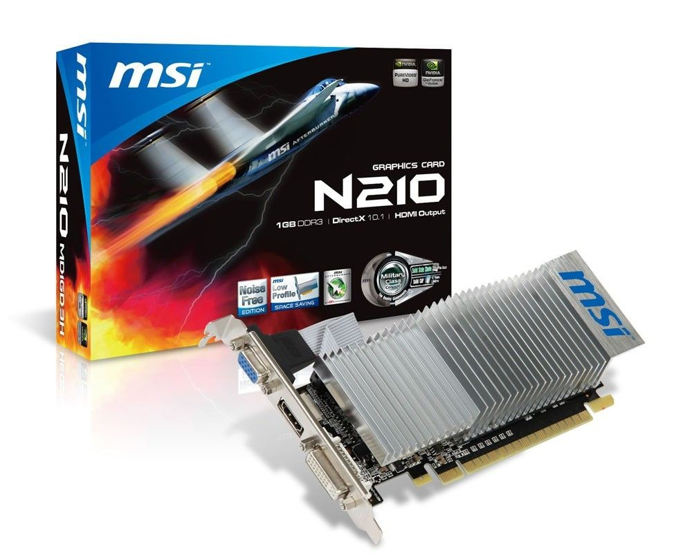 MSI KARTA PCI-E 1024MB GEFORCE GF210 64bit DDR3 Dual DVI/HDMI/D-Sub retail / MSI