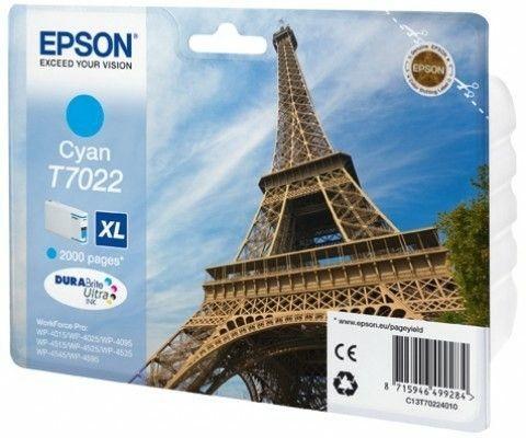 Epson Tusz T702 cyan XL | 2000str | WP4000/4500