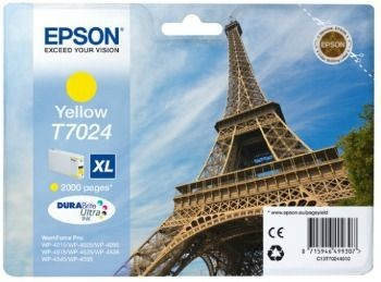 Epson Tusz T702 yellow XL | 2000str | WP4000/4500