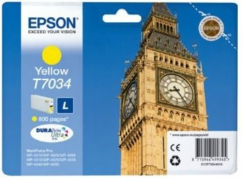 Epson Tusz T703 yellow L | 800str | WP4000/4500