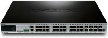 D-Link DGS-3620-28PC/SI xStack 24-port 10/100/1000 Layer 3 Managed PoE Gigabit Switch, 4 Combo