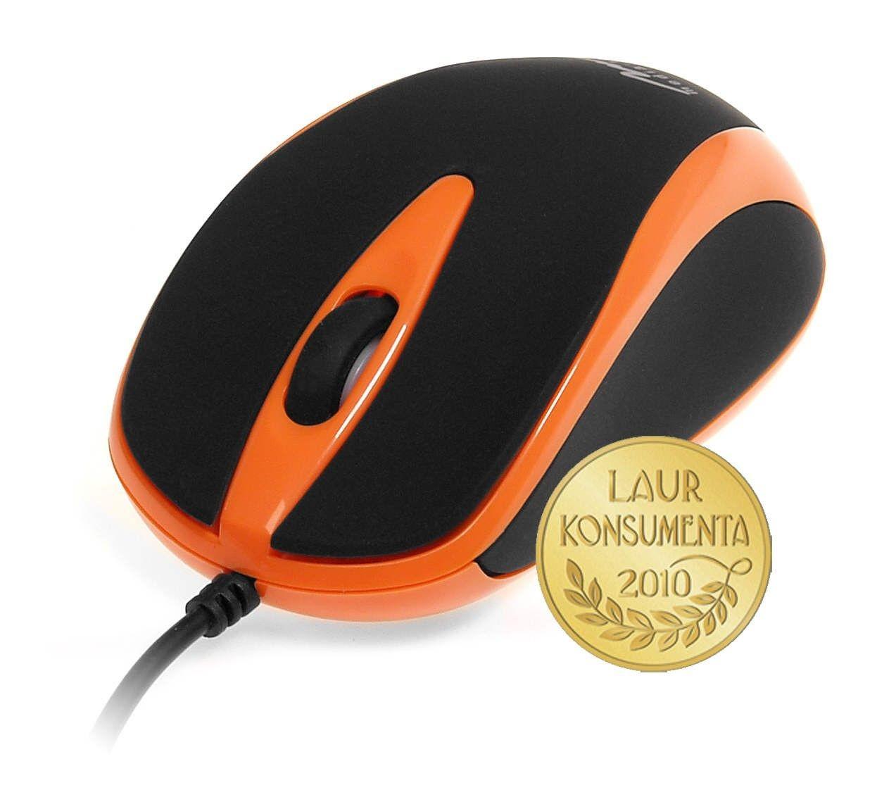 Media-Tech PLANO (mysz optyczna, 800cpi, USB, czarno-pomarańczowa)