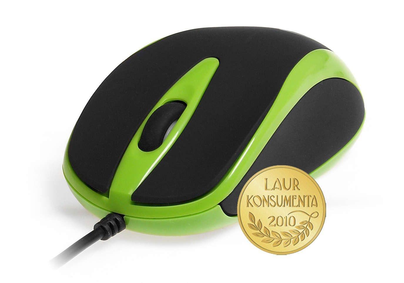 Media-Tech PLANO (mysz optyczna, 800cpi, USB, czarno-zielona)