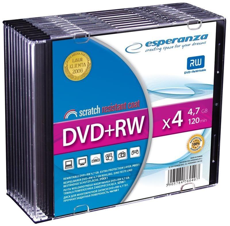 Esperanza DVD+RW 4.7GB 4x (slim case, 10szt)