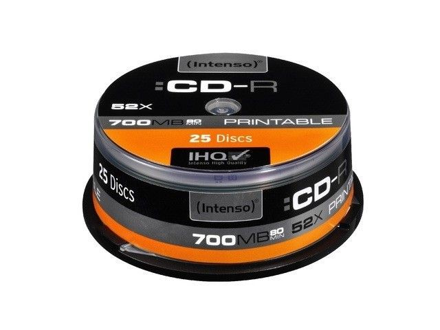 Intenso CD-R 700MB 52x Printable Fullface (cake box, 25szt)