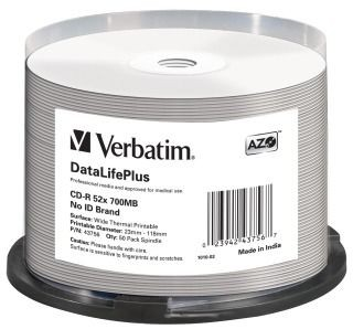 Verbatim CD-R 700MB 52x Printable Wide Thermal (cake box, 50szt)