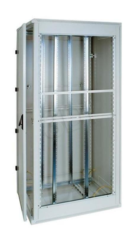 Triton Szafa rack 19 stojąca RMA-32-A88-CAX-A1 (32U 800x800mm trzypunktowe zawiasy przeszklone drzwi kolor jasnoszary RAL7035)