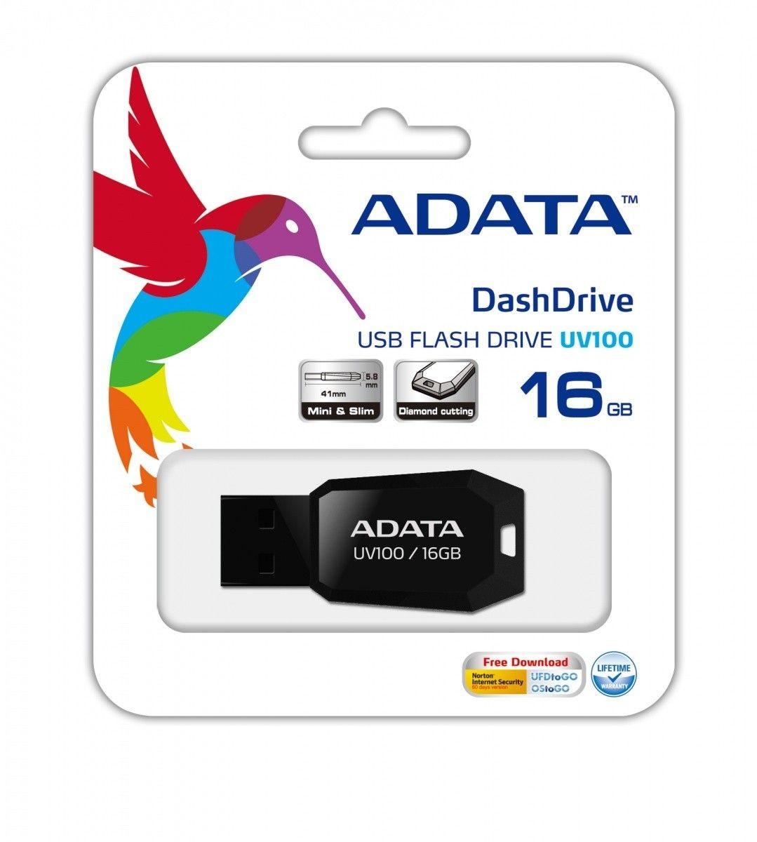 A-Data Adata pamięć USB UV100 16GB USB 2.0 Czarny