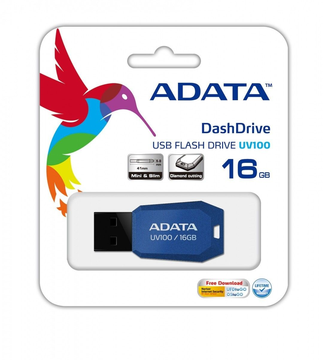 A-Data DashDrive UV100 16GB USB2.0 niebieski- mini