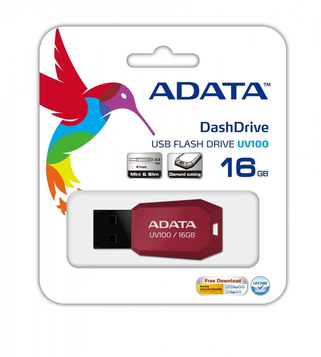 A-Data Adata pamięć USB UV100 16GB USB 2.0 Czerwony