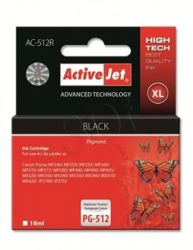 ActiveJet Tusz ActiveJet AC-512R | Czarny | 18 ml | Canon PG-512