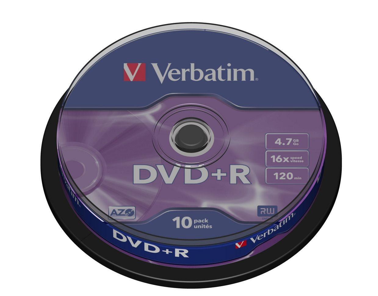 Verbatim DVD+R [ cake box 10 | 4.7GB | 16x | matte silver ]