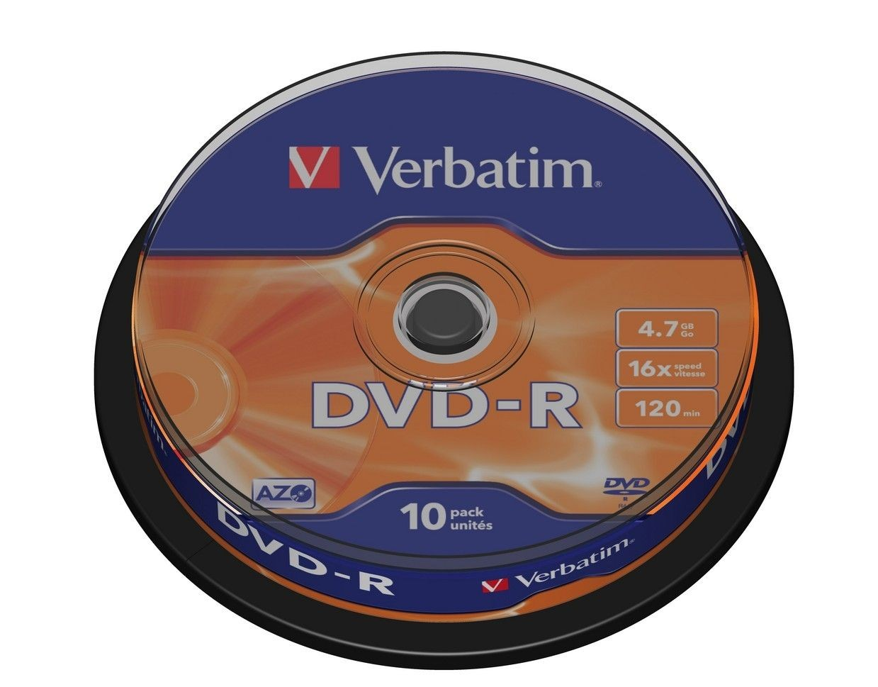 Verbatim DVD-R [ cake box 10 | 4.7GB | 16x | matte silver ]