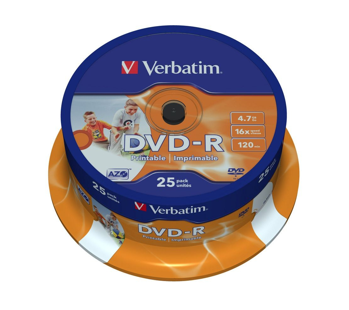 Verbatim DVD-R [ cake box 25 | 4.7GB | 16x | do nadruku Wide ]