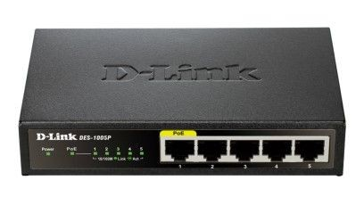 D-Link 5-Port Fast Ethernet Desktop Switch, 1 PoE port max. 15.4 W