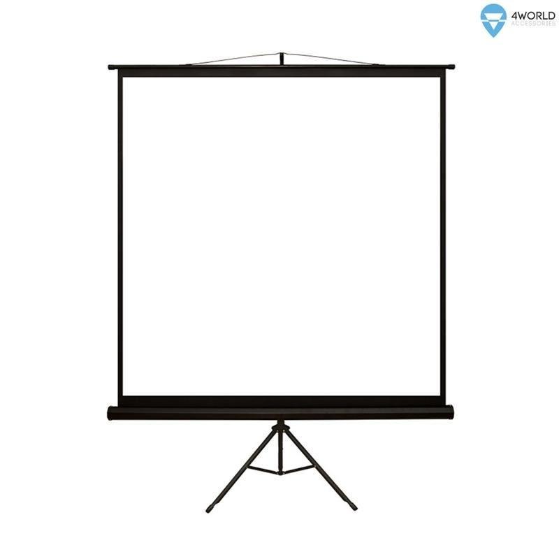 4World Ekran projekcyjny ze statywem 152x152 (1:1) biały mat