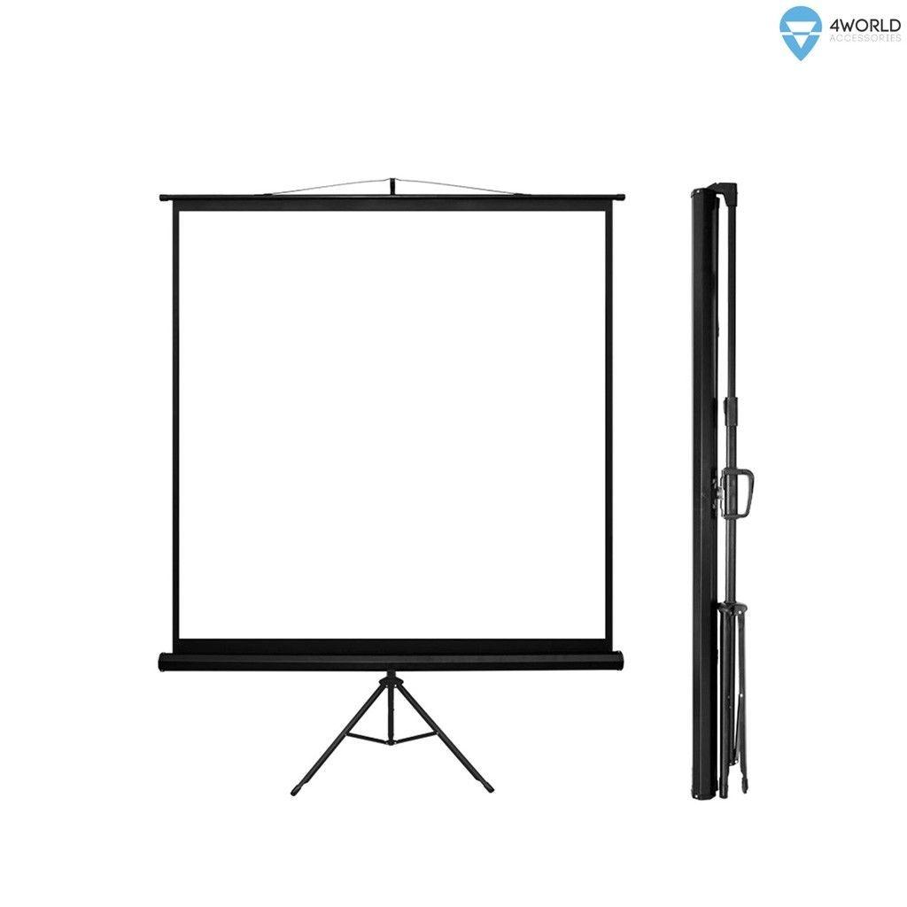 4World Ekran projekcyjny ze statywem 178x178 (1:1) biały mat