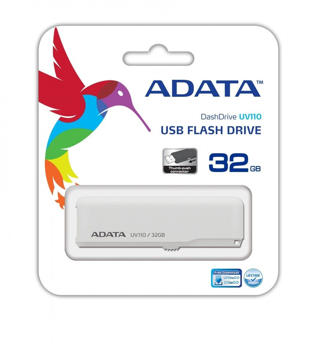 A-Data FlashDrive USB UV110 32GB White