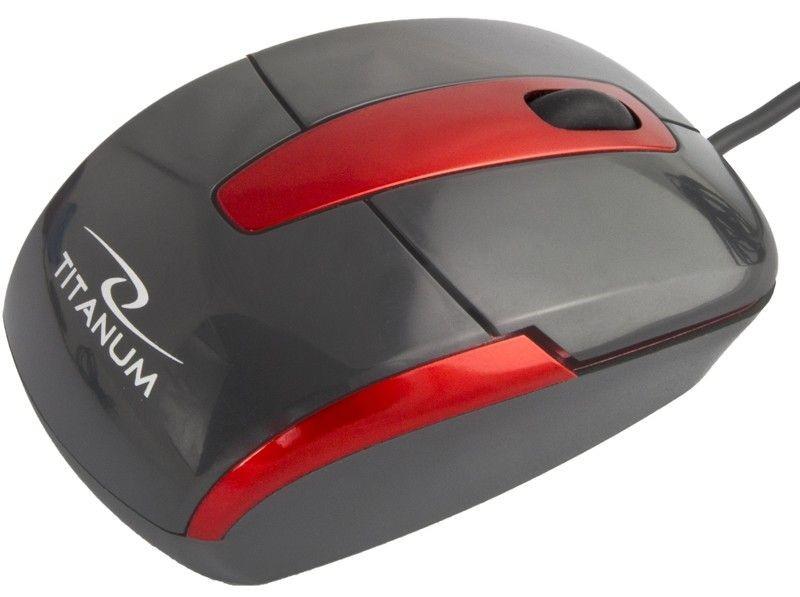Titanum TITANUM Przewodowa Mysz Optyczna TM108K USB BARRACUDA 3D| 1000 DPI |Czarna| BLIS