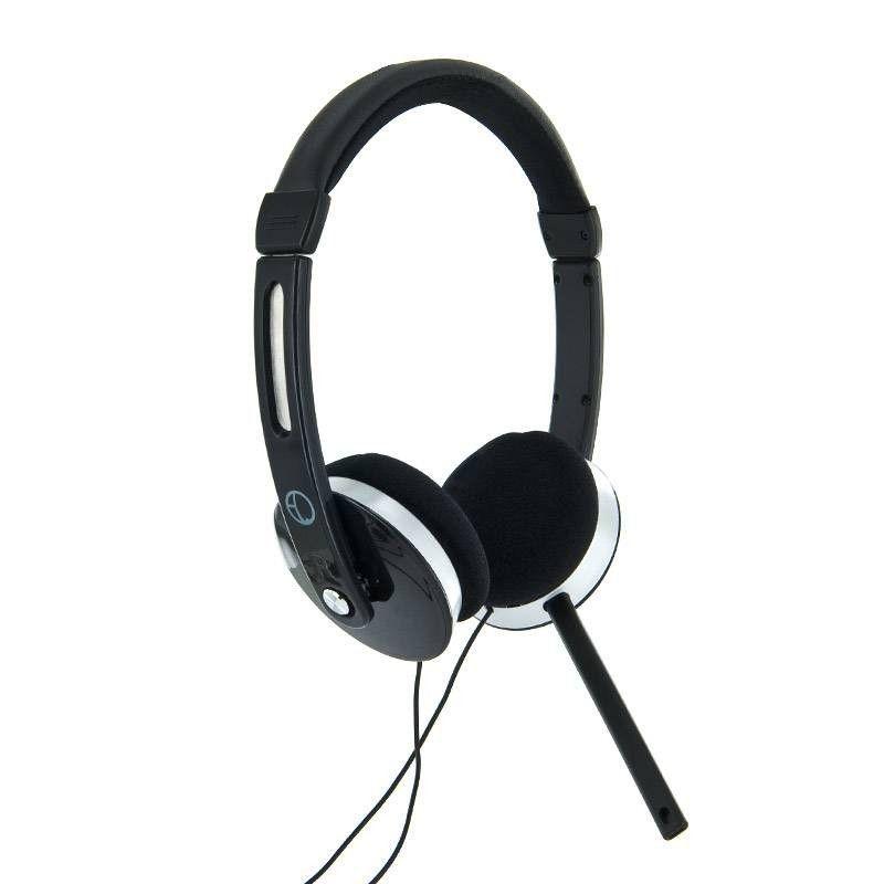 4World Słuchawki nauszne stereo z mikrofonem, przewód 2.2m, czarne