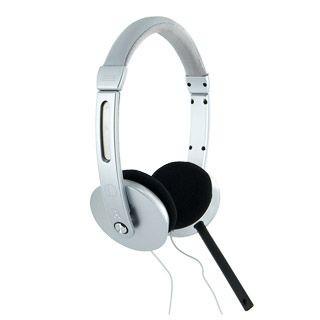 4World słuchawki nauszne stereo z mikrofonem (przewód 2.2m, srebrne)
