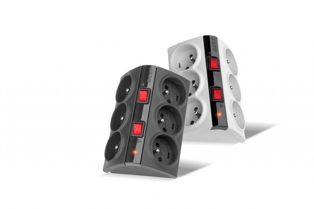 HSK Acar Smart listwa zasilająco-filtrująca, szara, 6 gniazd, 3m